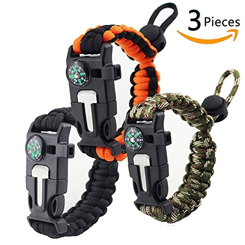 YIYAYIYAYO Paracord Bracelet Outdoor Survival Bracelet with Embedded Compass, Fire Starter, Emergency Knife and Whistle, 3 Pieces