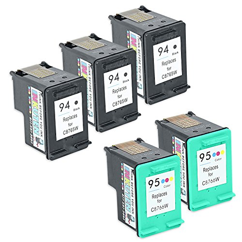 INKUTEN Remanufactured Ink Cartridge Replacement For Hewlett Packard HP 94 & HP 95 C8765WN C8766WN (3 Black, 2 Tri-Color) 5-Pack Compatible With Deskjet 460 460cb 460wf 460wbt 5740 5743 5745 (6200 Printer Inkjet Cartridge)