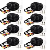ATC 8 PACK black 150 Feet Audio Video Power Security Camera Cables with Free BNC RCA Connectors for CCTV Home Surveillance Cameras DVR System