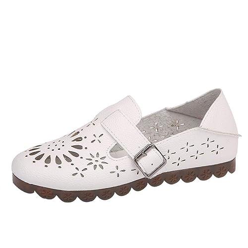 Zapatos de Plano de Cuero para Mujer Otoño Verano 2018 Moda PAOLIAN Zapatillas de Vestir Blancas Hueco Casual Calzado de Dama Suela Blanda Breathable con ...