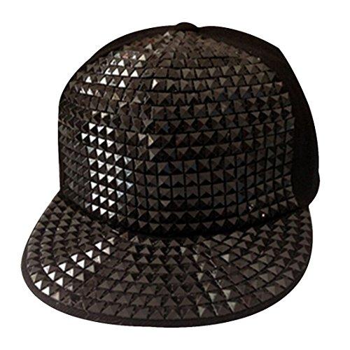Women's Snapback Bling Studded Rhinestone Adjustable Cotton Baseball Cap (Black)