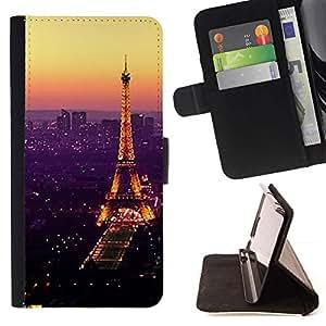 Momo Phone Case / Flip Funda de Cuero Case Cover - De púrpura Torre de París vibrante - Samsung Galaxy S6 Edge Plus / S6 Edge+ G928