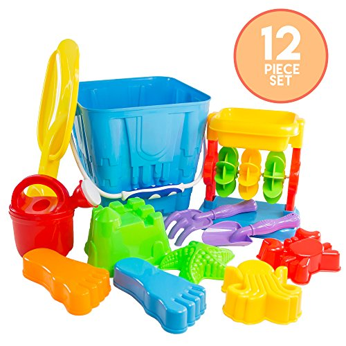 Price comparison product image 12 Piece Sand Castle Building Kit - Beach Toys Set with Sand Castle Bucket,  Sand and Water Wheel,  Shovels,  Rake,  Watering Can,  Several Molds and More for Kids,  Boys,  Girls & Toddlers