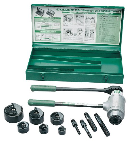 - Greenlee 1904 Slug-Buster Ratchet Punch Driver Kit With 3 Draw Studs and Case