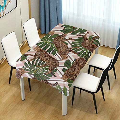 ZOMOY Decor Tablecloth Seamless Tropical Pattern Background Cheetahs Leaves Multicolor Rectangular Table Cover for Dining Room Kitchen Outdoor Picnic]()