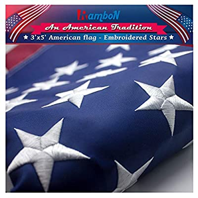 RamboN American Flag 3x5 ft. Durable Longest Lasting Spun Polyester 300D Indoor/Outdoor US USA Flags - UV Protected, Embroidered Stars, Sewn Stripes.