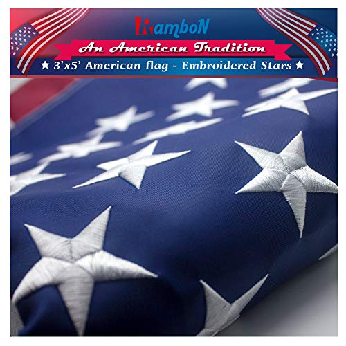 RamboN American Flag 3x5 ft. Durable Longest Lasting Spun Polyester 300D Outdoor US USA Flags - UV Protected, Embroidered Stars, Sewn Stripes