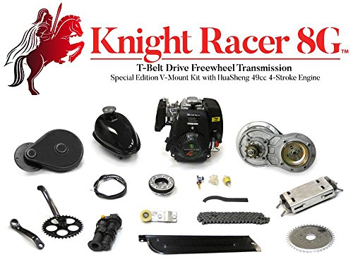Knight Racer 8G - T-Belt Drive Freewheel Transmission Special Edition  V-Mount Kit with HuaSheng 49cc 4-Stroke Engine