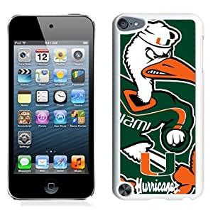 Beautiful And Popular Designed With NCAA Atlantic Coast Conference ACC Footballl Miami (FL) Hurricanes 7 Protective Cell Phone Hardshell Cover Case For iPod 5 Phone Case White
