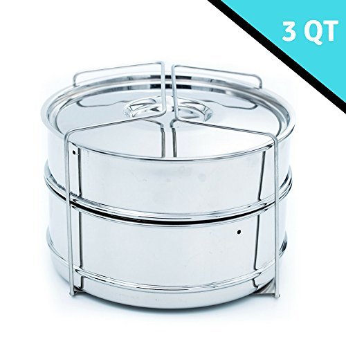STEAMER INSERT FOR 3 + QUART INSTANT POT or PRESSURE COOKER ACCESSORIES (STEAMER) / INSERT PANs/RACK with 2 insert pans and a GRIPPER