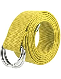 Canvas Web D Ring Belt Silver Buckle Military Style for men & women 1 or 3 pcs