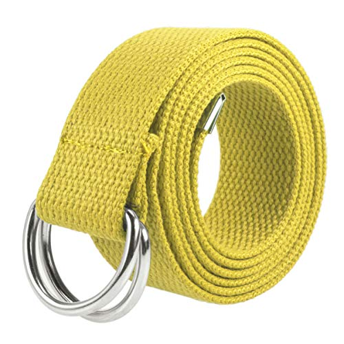 (Gelante Canvas Web D Ring Belt Silver Buckle Military Style for men & women 1 or 3 pcs 2052-Yellow (S/M))