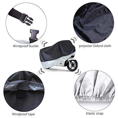 Motorcycle Cover, Fits up to 89'' Tour Bikes, Choppers, Cruisers, All Weather Waterproof UV Rain Outdoor Protection