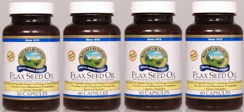 Naturessunshine Flax Seed Oil w/Lignans Support Circulatory and Immune System 60 softgel caps (Pack of 4)
