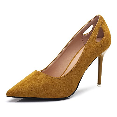 Pump toe Club on Fashion Slip Women's Shoes Hollow for Sexy Night Stylish Pointed out Stiletto Green Office Heels Suede Rwzq7p