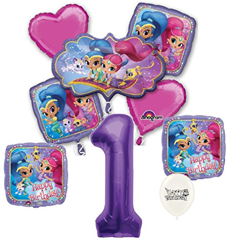 Purple Number 1st Birthday Shimmer and Shine Party Decorations Balloon Bouquet Bundle
