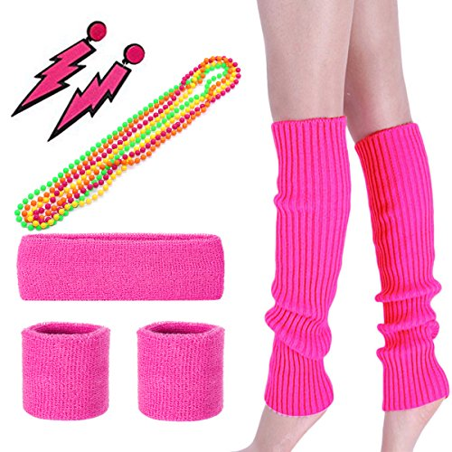 KQueenStar Costume 80s Outfit Accessories Set - Women's 80s Fancy Neon Headband Leg Warmers Gloves