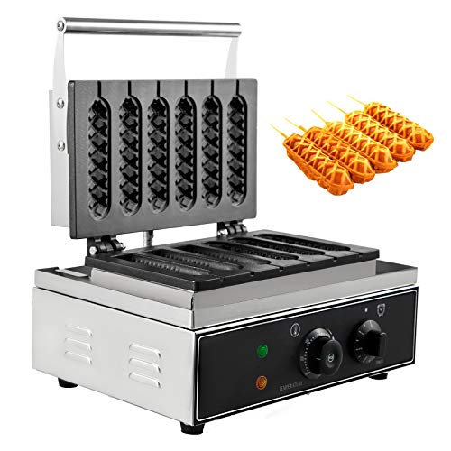 Happybuy 6 Pcs Commercial Lolly waffles Makers Non-Stick Sausage with Six Grid for Taiyaki Crisp Cake and Heating Hot Dogs, 15x14 inch (Stick Waffle Maker)