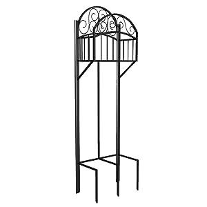 Liberty Garden 119 Decorative Garden Hose Stand with Storage Shelf, Black