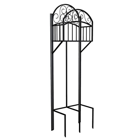 Charming Liberty Garden Products 119 Decorative Black Garden Hose Stand With Shelf