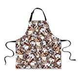 HUGS IDEA Fashion Animal Print Cooking Kitchen BBQ Aprons for Men Women (Husky)