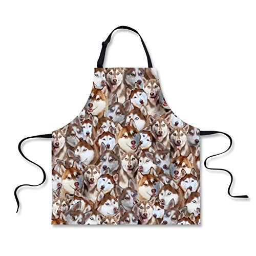 HUGS IDEA Fashion Animal Print Cooking Kitchen BBQ Aprons for Men Women (Husky) by HUGS IDEA