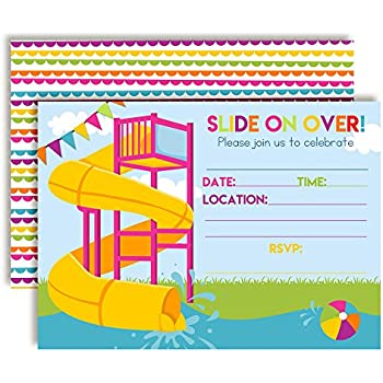 Slide Into Summer Waterslide Birthday Party Invitations For Girls 20 5x7 Fill