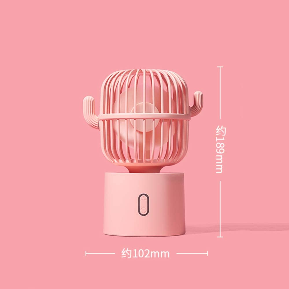 LIHUAN Mini Ventilador Mute Escritorio De Oficina USB Portátil Recargable Dormitorio Estudiantil Pequeño Mini Cabeza De Sacudida Automática Viento Grande Hogar Cama De Mano Ultra Silenciosa,Pink