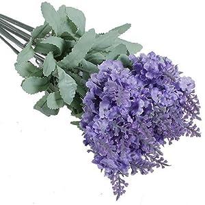 Broadfashion 1x 10 Heads Artificial Lavender Silk Flower Bouquets Wedding Home Party Decor (Light Purple) 22