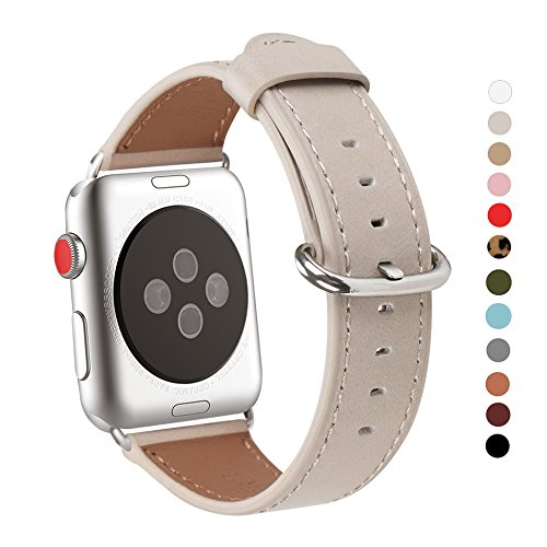 WFEAGL Compatible Apple Watch Band 38mm 42mm, Top Grain Leather Band Replacement Strap with Stainless Steel Clasp for iWatch Series 3,Series 2,Series 1,Sport, Edition(IvoryWhite Band) by WFEAGL