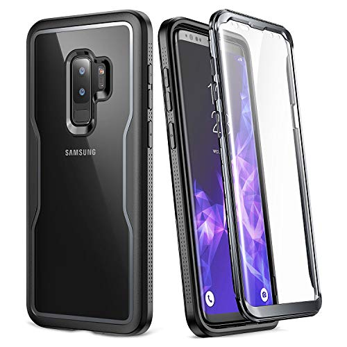 Galaxy S9+ Plus Case, YOUMAKER Crystal Clear with Built-in Screen Protector Full-Body Heavy Duty Protection Slim Fit Shockproof Case Cover for Samsung Galaxy S9 Plus (2018) - Clear/Black (Renewed)