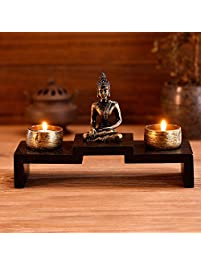 mini buddha statue zen decoration with 2 tealight candle holders and wood shelf base