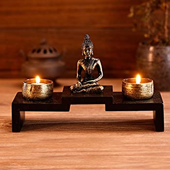 Amazon Com Sitting Buddha 12 3 4 Quot High 3 Candle Tealight