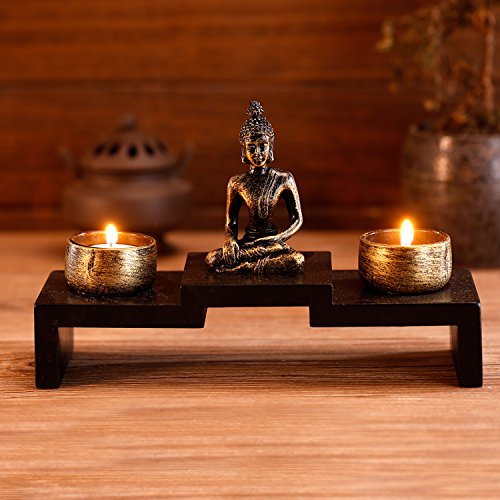 MyGift Mini Buddha Statue Zen Decoration with 2 Tealight Candle Holders and Wood Shelf Base