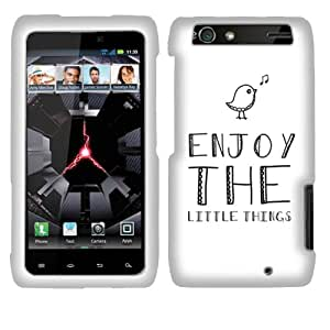 Fincibo (TM) Motorola Droid Razr Maxx XT913 XT916 XT912M Protector Hard Plastic Snap On Cover Case - Enjoy The Little Things, Front And Back
