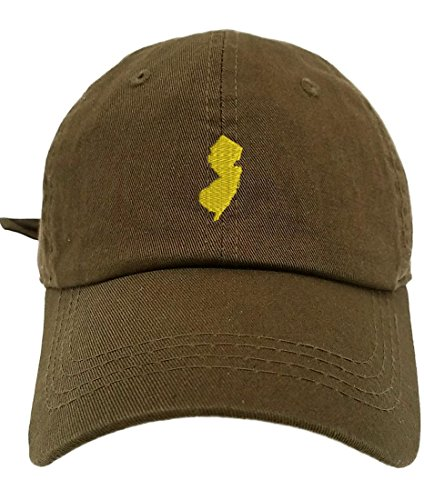 TheMonsta New Jersey Map Style Dad Hat Washed Cotton Polo Baseball Cap (Olive)