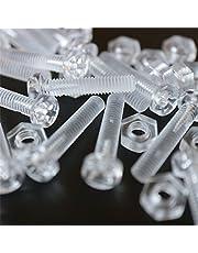 Pakket van 20 doorzichtige, heldere M4 x 20 mm bouten & moeren, sluitringen - schroeven van plastic, acryl, kunststof