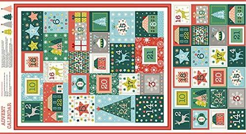 MAK849 Merry 100/% Cotton Advent Calendar Pockets Panel 60 cm x 110 cm Elephant in my Handbag CHRISTMAS ADVENT CALENDAR FABRIC By Makower