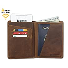 RFID Blocking Travel Passport Wallet - Genuine Crazy Horse Leather (Brown)