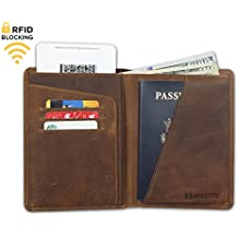 RFID Blocking Passport Holder Travel Wallet - Genuine Crazy Horse Leather