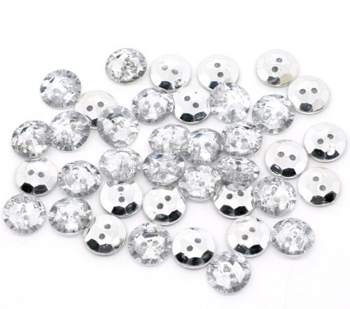 25 x 13mm Clear Faceted Round Bling Buttons (Crystal Look). Silver Plated Back. Haberdashery / Crafts / Cardmaking / Sewing, Weddings etc. by The Little Button Shop Buttons