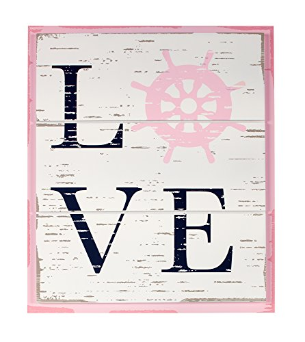 Nautica Kids Nursery Separates Love Wall Decor, Pink/Navy/White