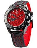 SHARK Men's 6 Hands Date Day Red Dial Sport Quartz Wrist Watch + Gift Bo SH082