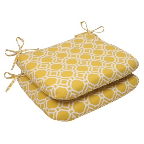 Pillow Perfect Outdoor Rossmere Rounded Seat Cushion, Yellow, Set of 2