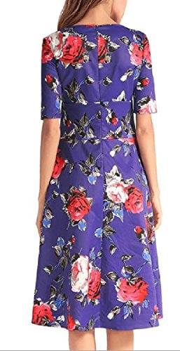 Jaycargogo Des Femmes De Thé Floral Vintage Manches Élégante Robe De Robes Hepburn Ball 1