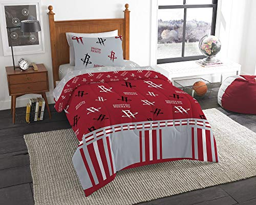 HNU NBA Houston Rockets Twin Comforter Set,Grey Red Bedding Set,Cool Modern Print Boys Sports Fan Frenzy Contemporary All Over Printed Fancy Cozy Basketball Texas Reversible Machine Washable