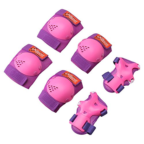 eNilecor Kids/Youth Rollerblade Roller Skates Cycling Knee Pads Elbow Pads Wrist Guards Protective Gear Set for BMX Bike Skateboard Inline Skatings Scooter Riding Sports (Purple/Pink, Small)