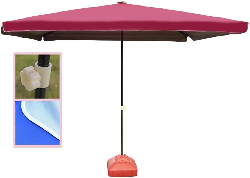 JFFFFWI 9Ft Square Portable Patio Outside Market Umbrella for Outdoor Table Deck Garden, Beach Umbrella Sun Shelter (Color : Wine red, Size : 9 Ft/280cm) (Color : Wine Red, Size : 9 Ft/280cm)