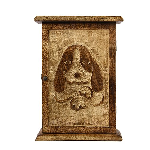 Aheli Wooden Dog Paw Design Carved Wall Mounted Key Box Cabinet with 6 Hooks Storage Organizer Holder