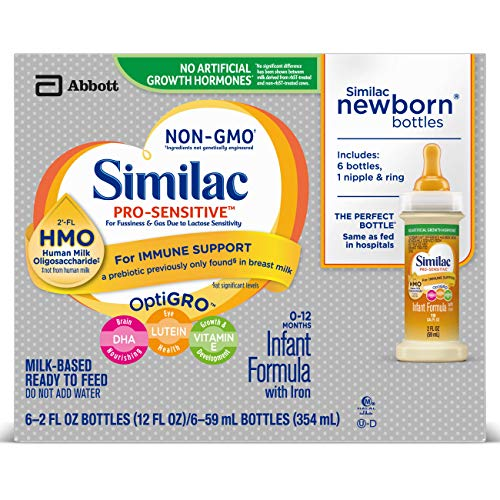 Similac Pro-Sensitive Non-GMO Infant Formula with Iron, with 2'-FL HMO, Ready-to-feed Newborn Bottles, For Immune Support, Baby Formula, 2 fl oz bottles (48 bottles) (Best Formula To Use For Newborns)